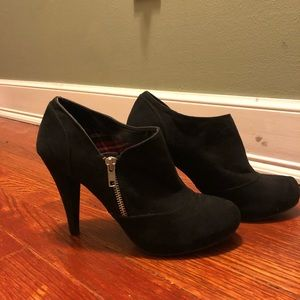 Black suede shoe boots
